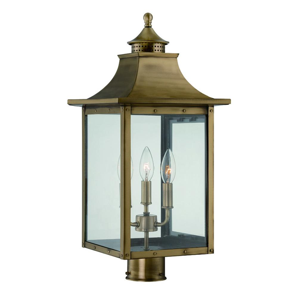 St Charles Collection Post Mount 3 Light Outdoor Aged Br Fixture